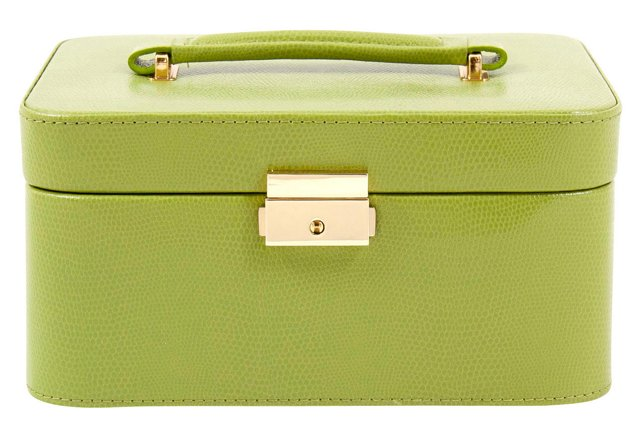 Leather Jewelry Box, Lime