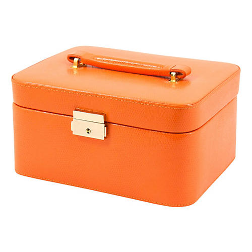Leather Jewelry Box, Orange