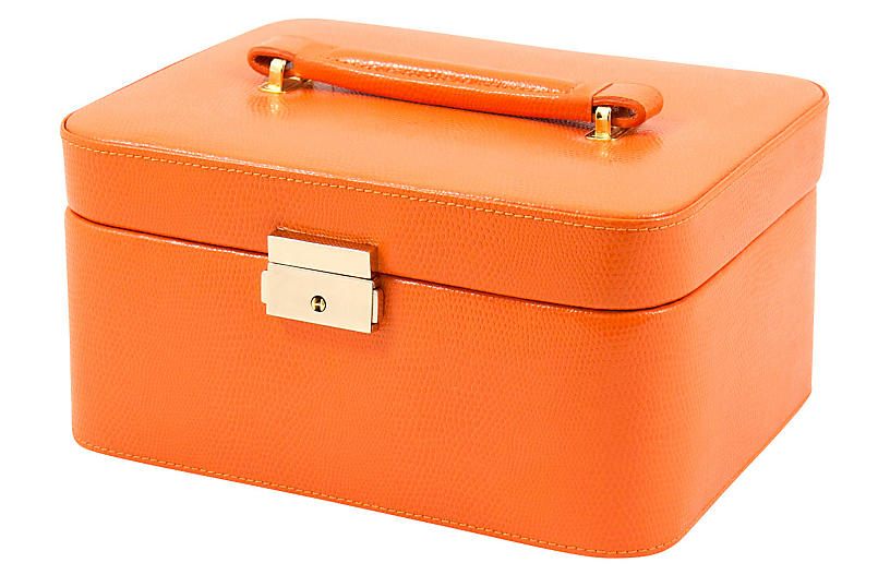 Leather Jewelry Box - Orange