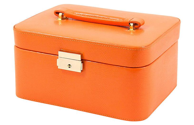 Leather Jewelry Box - Orange