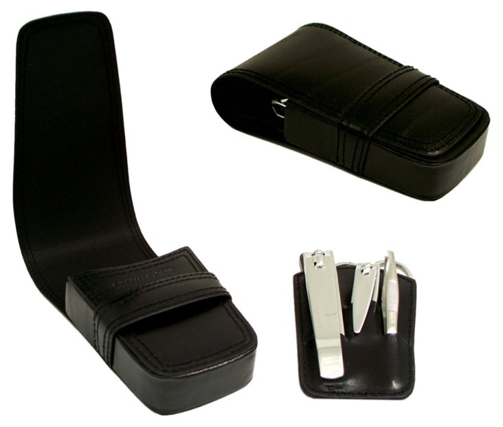 5-Piece Leather Grooming Case, Black