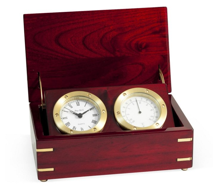 Clock/Thermometer In Rosewood Box