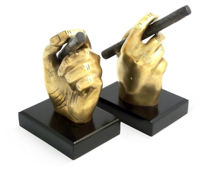 Cigar w/ Antique Brass on Wood Bookends