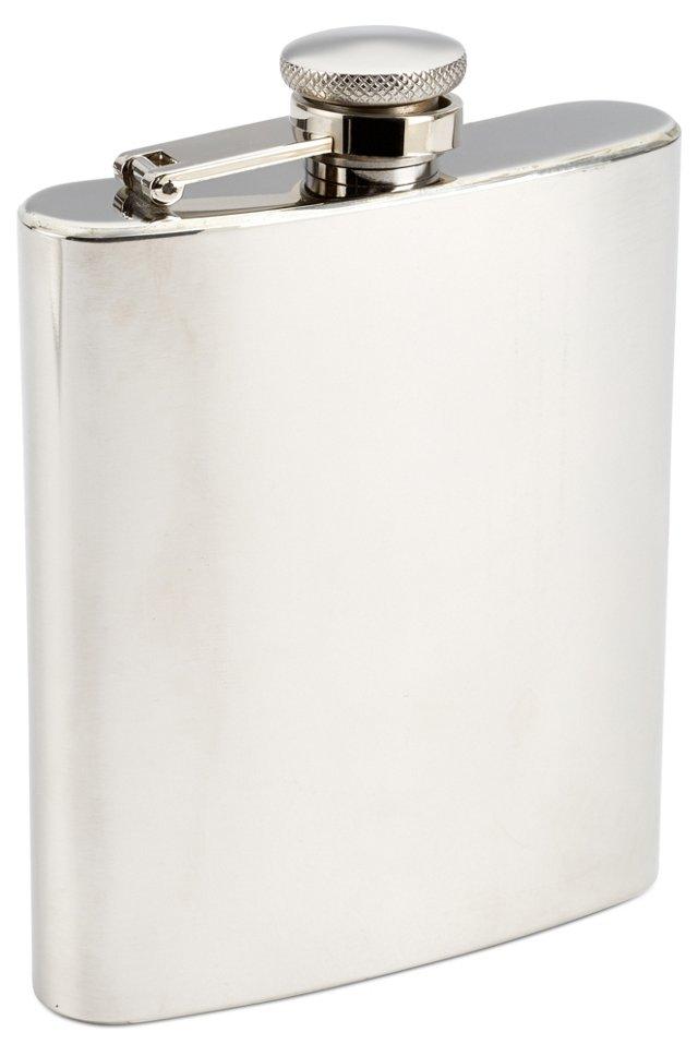 Flask & Cigar Holder Set, Silver