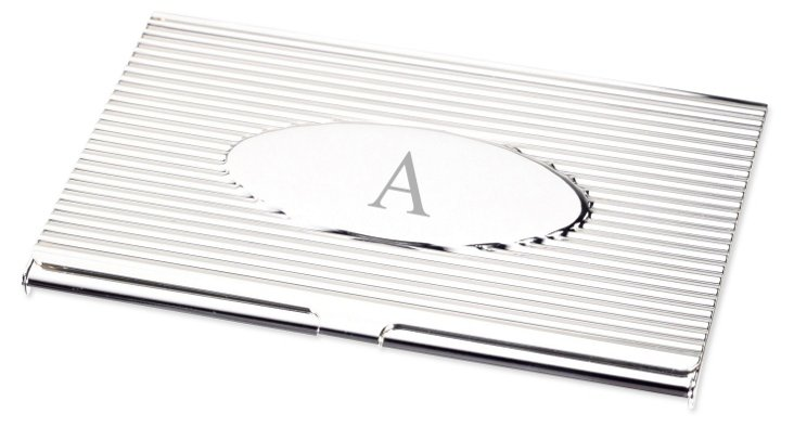 Monogram Oval Business Card Case, Silver
