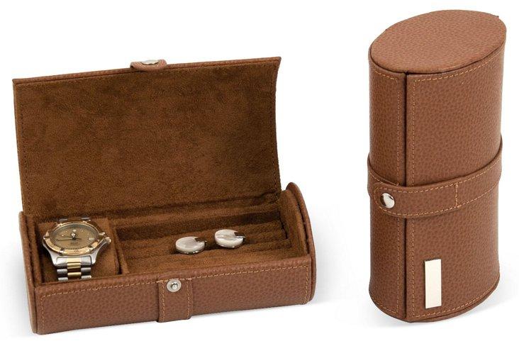 Leather Gentleman's Travel Case, Tan