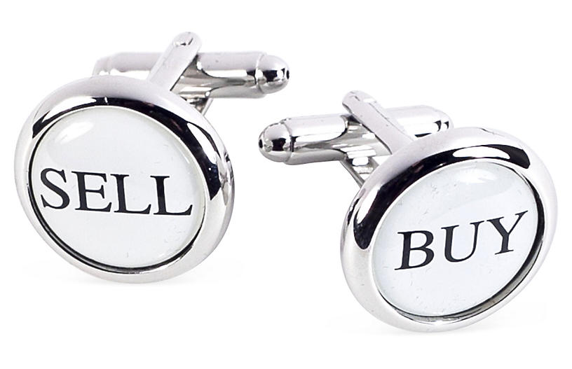Buy & Sell Cufflinks, White/Silver