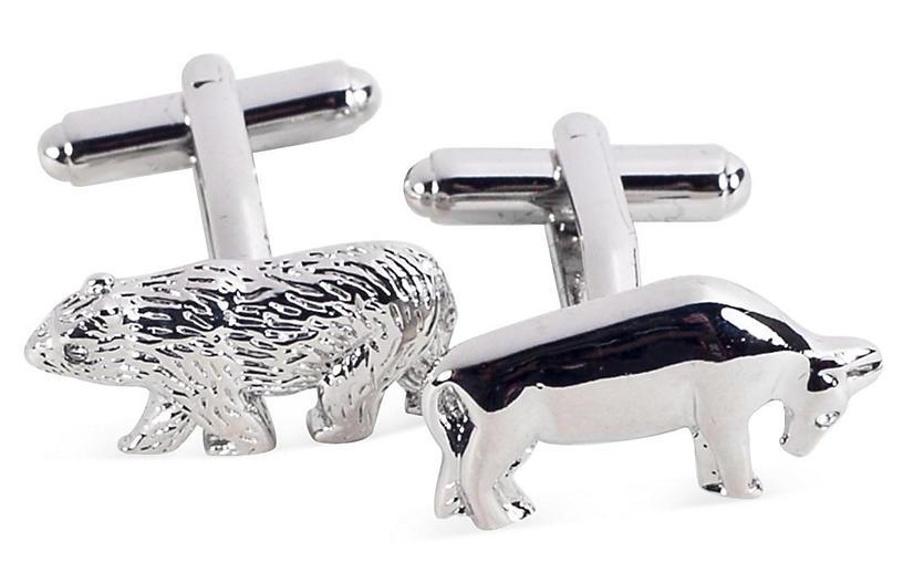 Bull & Bear Cufflinks, Silver