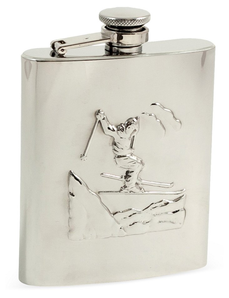 Stainless Steel Ski Flask, Silver