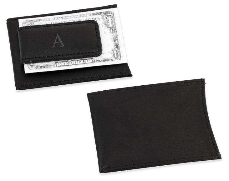 Monogram Money Clip Wallet, Black
