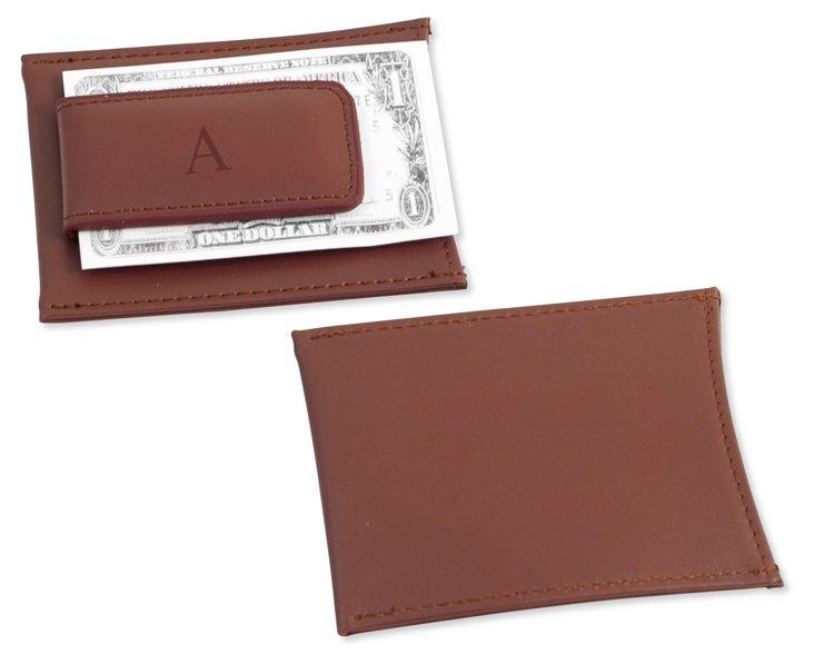 Monogram Money Clip Wallet, Brown