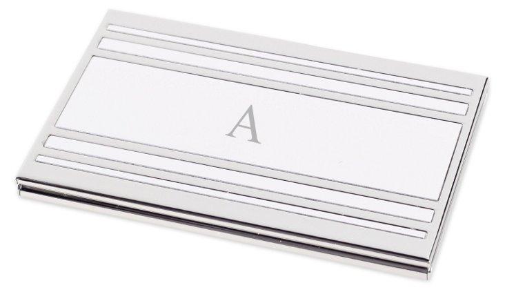 Monogram Business Card Case, Silver