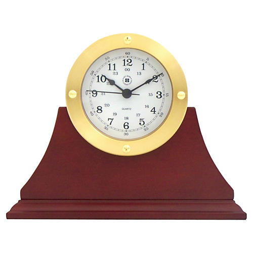 Quartz Desk Clock, Mahogany