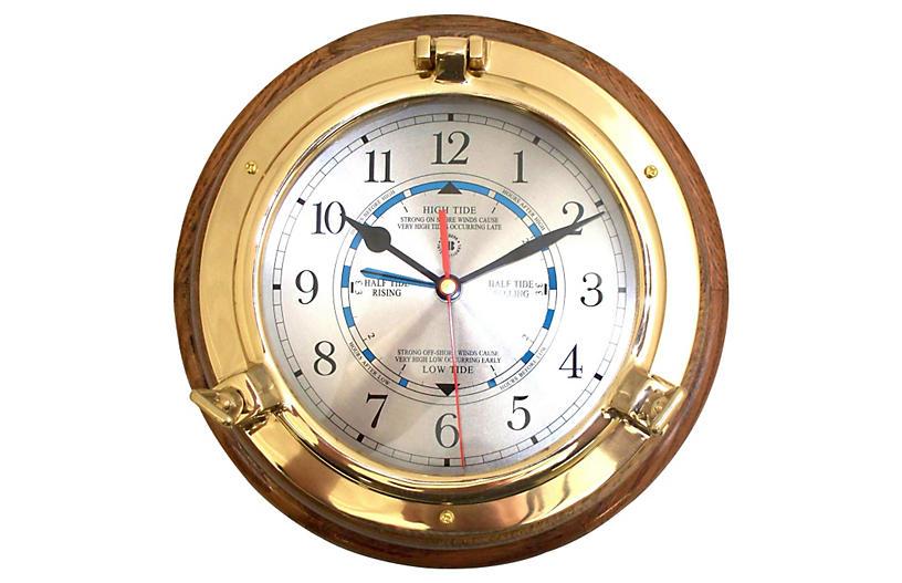 Porthole Clock, Oak/Gold