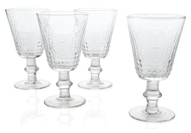 S/4 Embossed Wineglasses, Clear