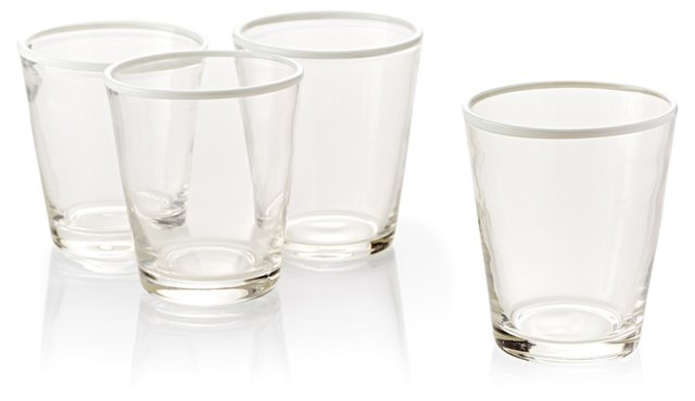 S/4 Handblown DOF Glasses, White