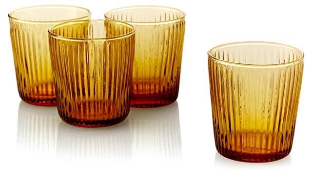 S/4 Ribbed DOF Glasses, Amber