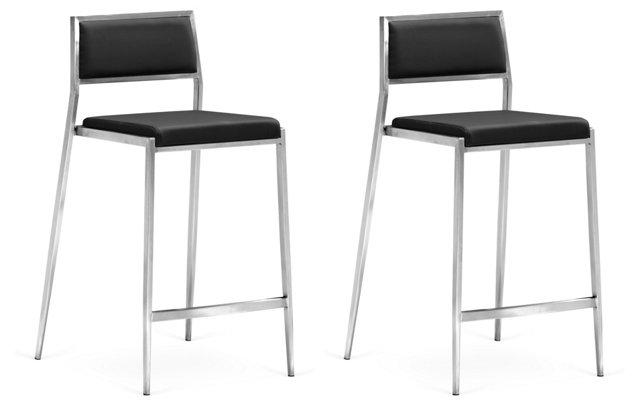 *D Black Dolomite Chair, Pair