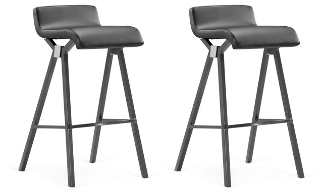 Gray Xert Bar Chairs, Pair