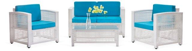 Alameda Beach Living Set, White & Blue