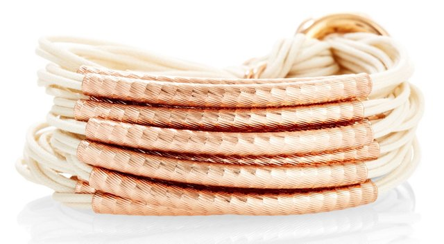 Rose Hammered Bracelet, Cream
