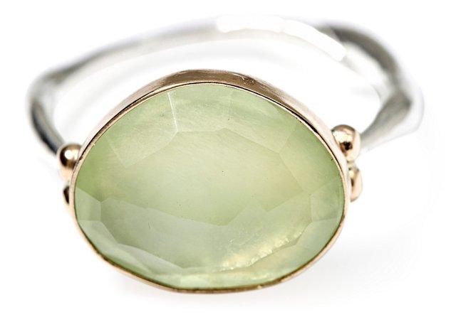 Rosecut Prehnite Ring