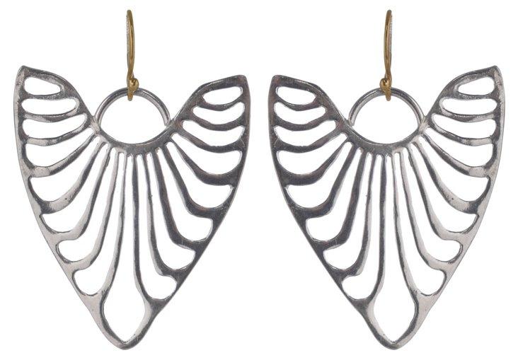 Sterling Silver Heart Ribs Earrings