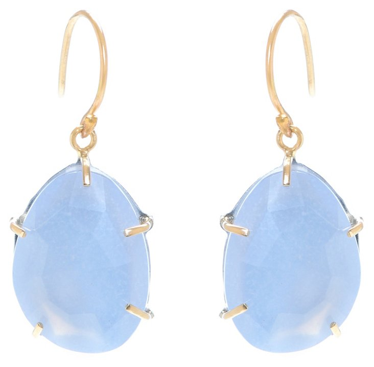 14K Gold Prongs w/ Chalcedony Earrings