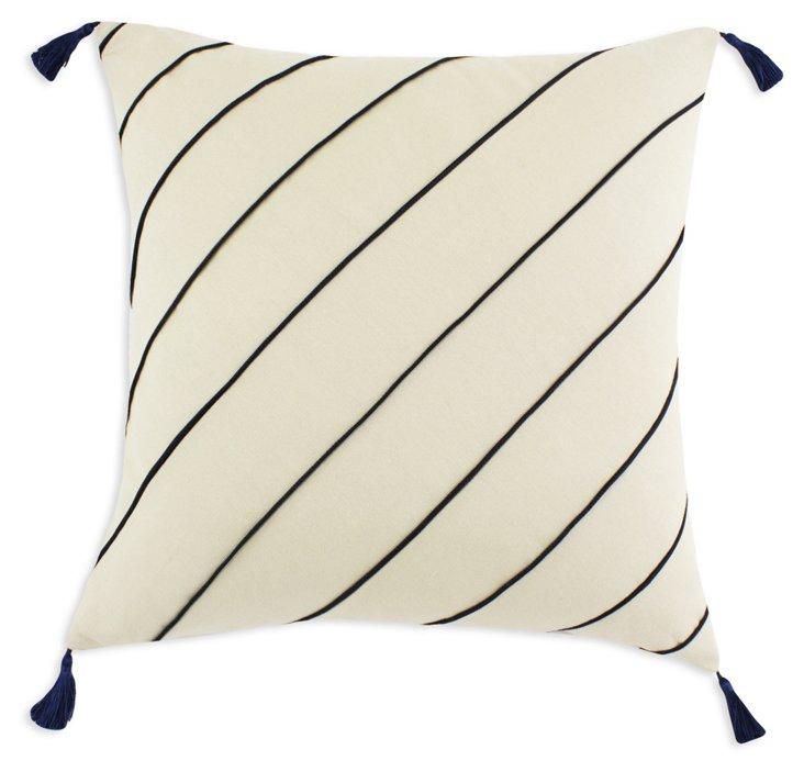 Breezy 17x17 Cotton Pillow, Ivory