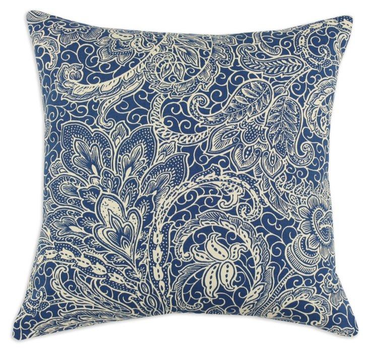 Mardi Gras 17x17 Cotton Pillow, Navy