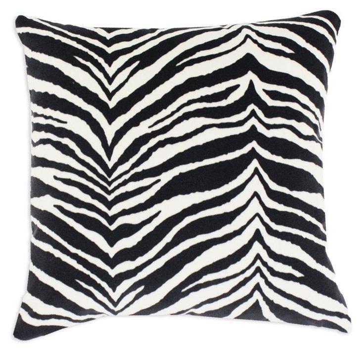 Zebra 17x17 Pillow, Black