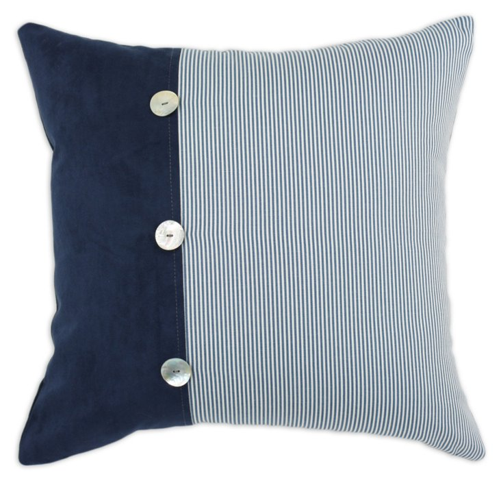 Oxford Button 19x19 Pillow, Navy