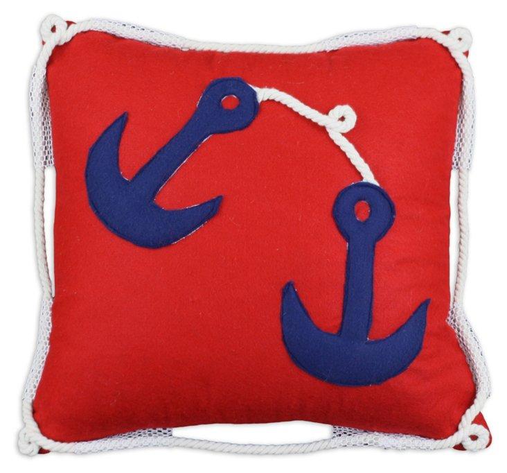 Twist 17x17 Cotton Pillow, Red