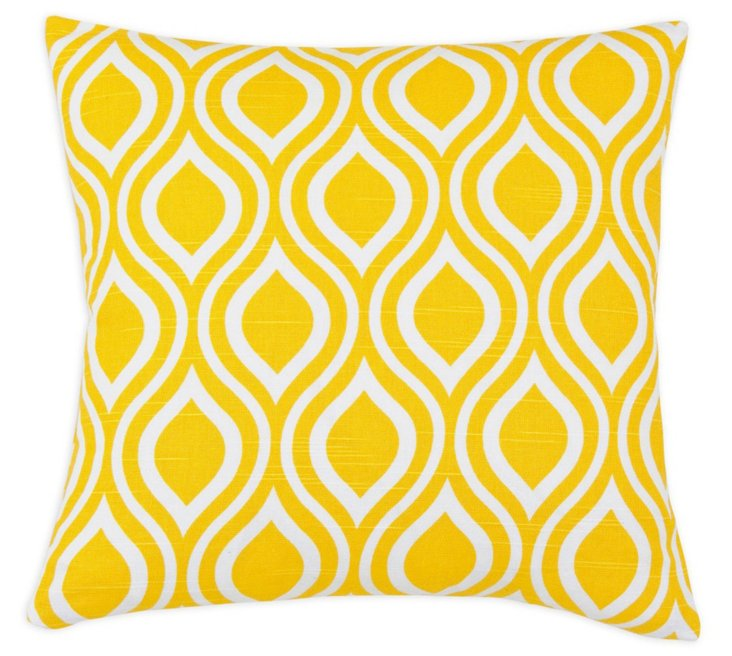 Flair 17x17 Cotton Pillow, Yellow