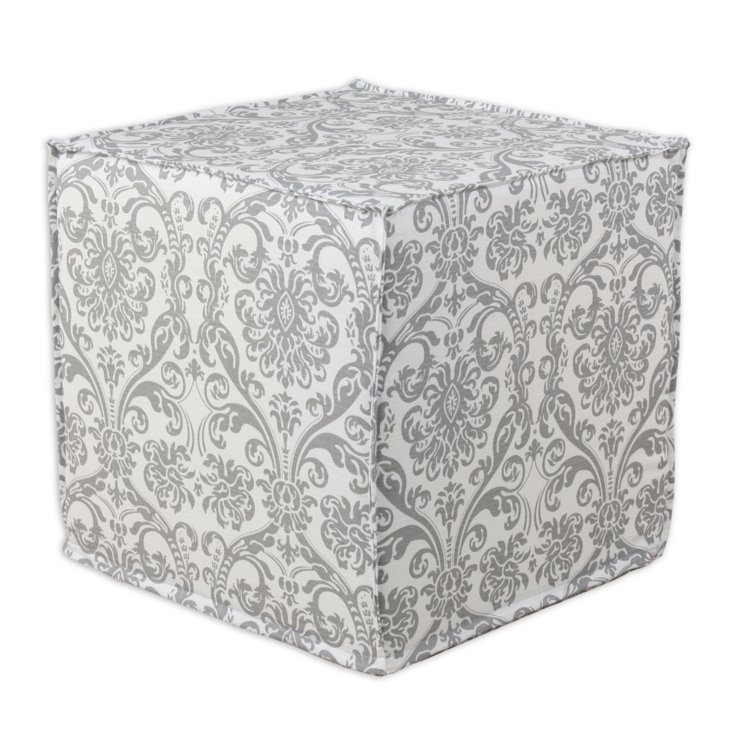 Candee Twill Pouf, Gray