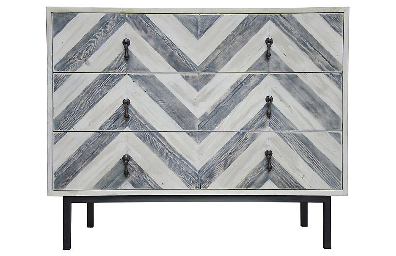 Reclaimed Chevron Dresser, Blue/Natural