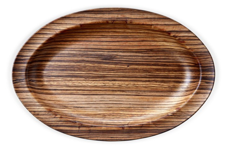 S/2 Oval Plates, Zebrawood