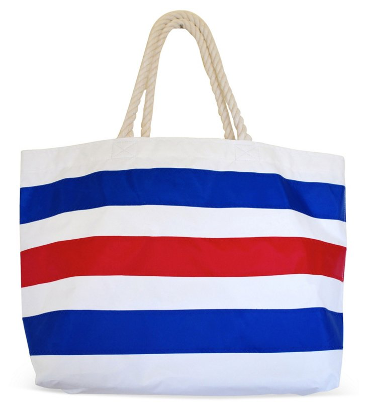 Striped Overnighter Tote, Blue/Red