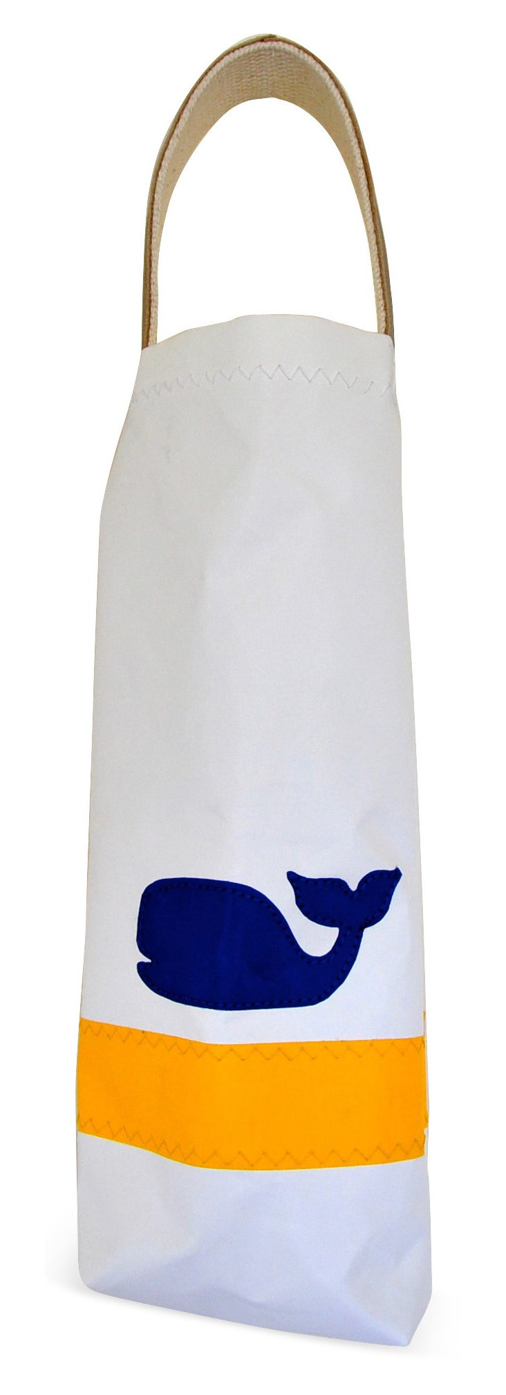 Whale Wine Bag w/ Leather Handle, White