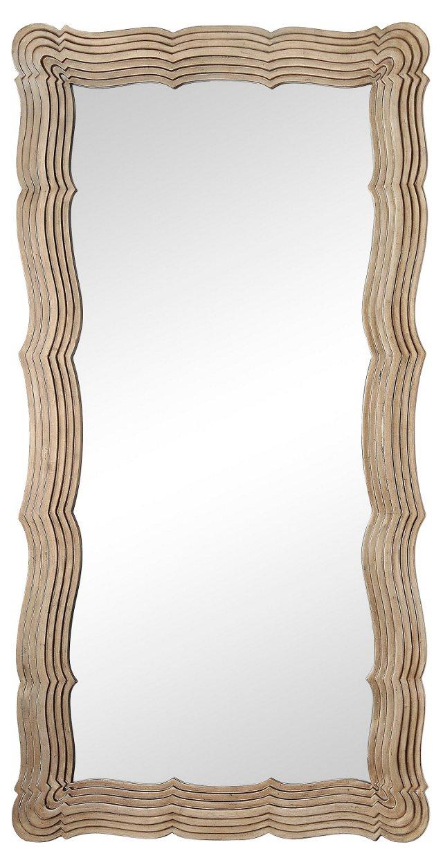 Anzio Floor Mirror, Silver Leaf