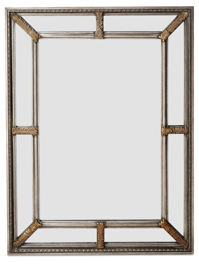Sion Oversize Mirror, Silver/Clear
