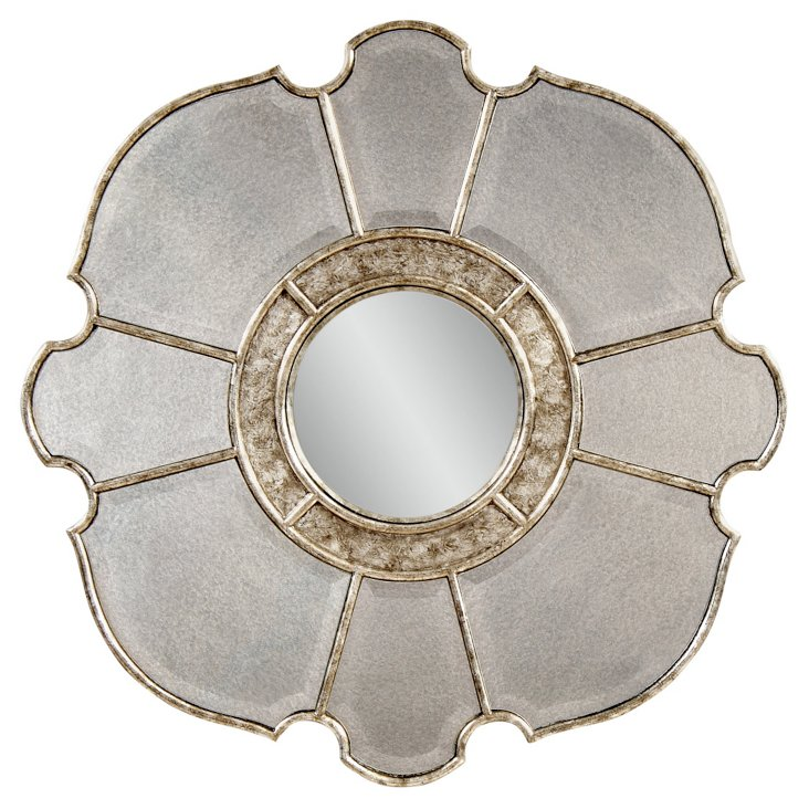 Delphine Wall Mirror, Antiqued Silver