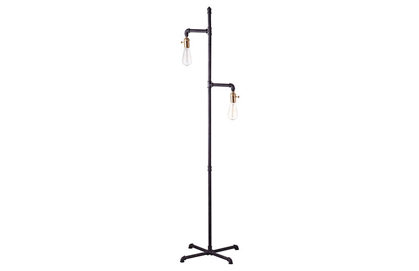 Industrial Floor Lamp - Rust