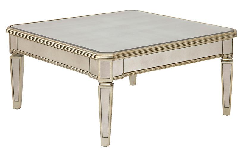 Alicia Mirrored Table, Champagne Silver