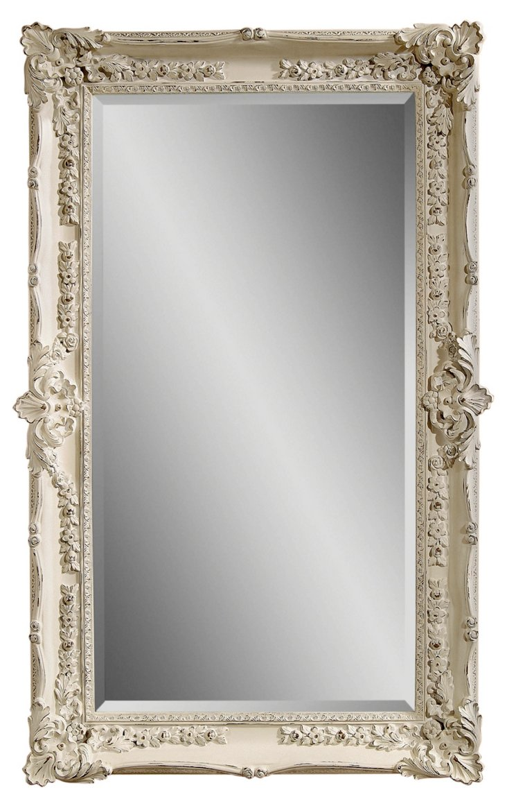 Garland Floor Mirror, Antiqued White