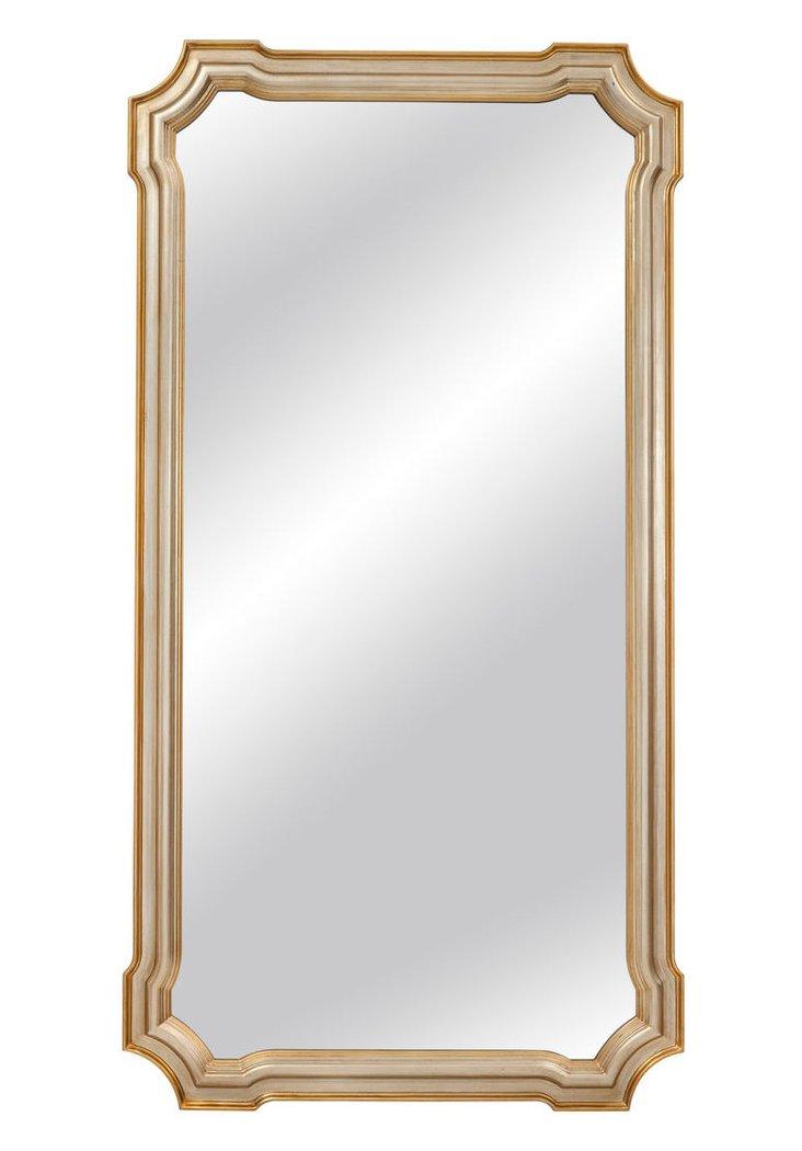Angelica Floor Mirror, Silver Leaf