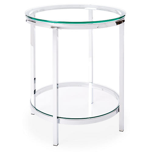 Coralie Modern Side Table, Silver