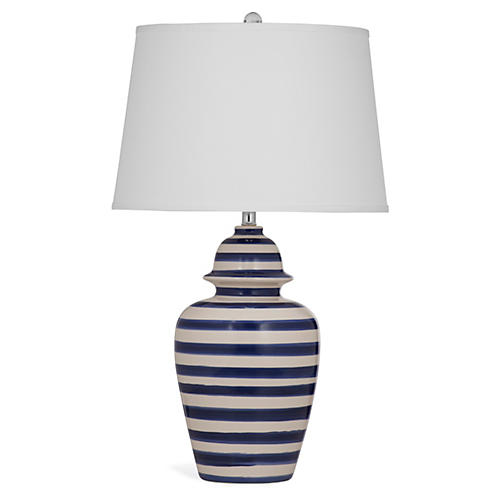Striped Table Lamp, Blue