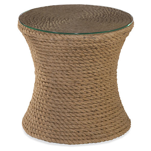"Olivia 18"" Woven Side Table, Rope"