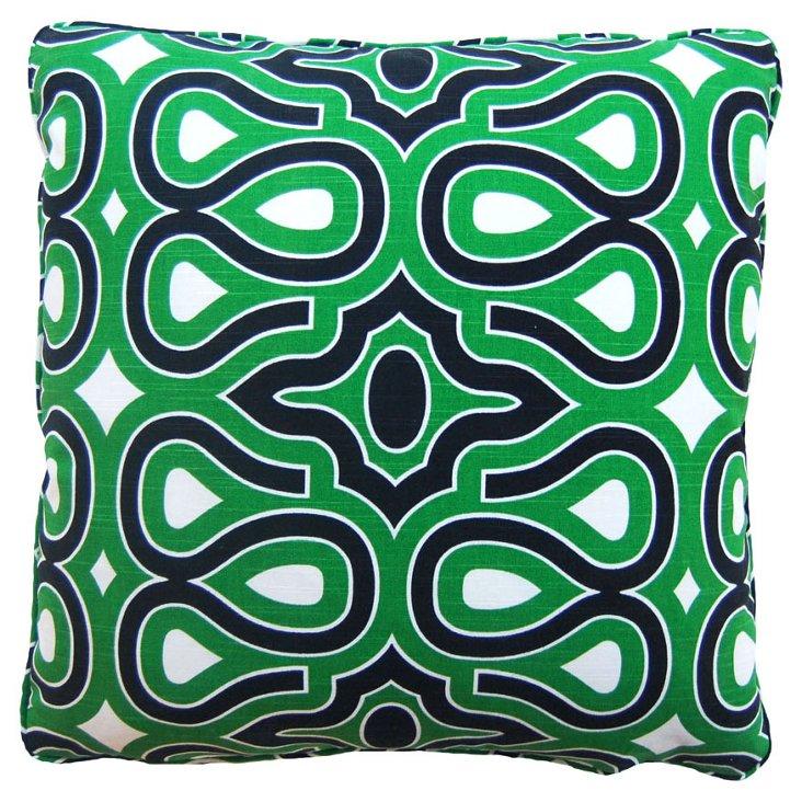 Loops 22x22 Cotton Pillow, Green/Black